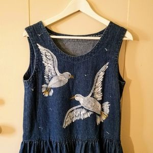 Vintage Handmade Denim Dress w/ Painted Seagulls